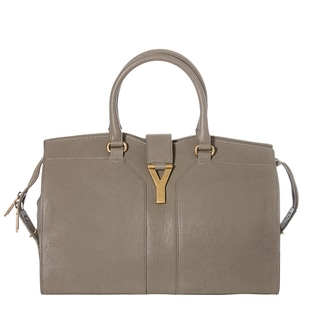 Yves Saint Laurent Women's 'Cabas ChYc' Grey Leather MediumTote Handbag