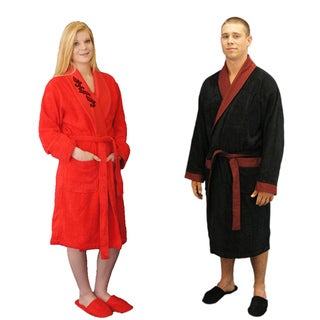 Brielle Home Turkish Cotton Blend 8-piece His & Hers Red/Black Bath Robe Gift Set