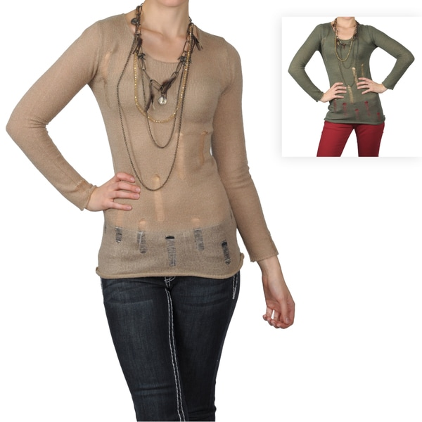 Journee Collection Women's Long Sleeve Round Neck Distressed Sweater