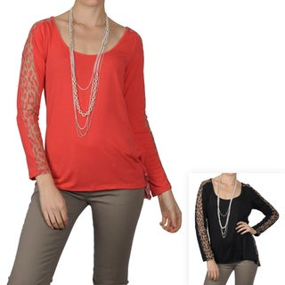 Journee Collection Juniors Lace Detail Long Sleeve Scoop Neck Top