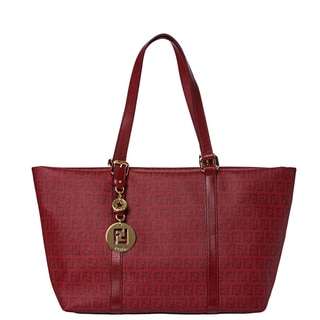 Fendi Women's Large Red Zucchino Print Tote Handbag