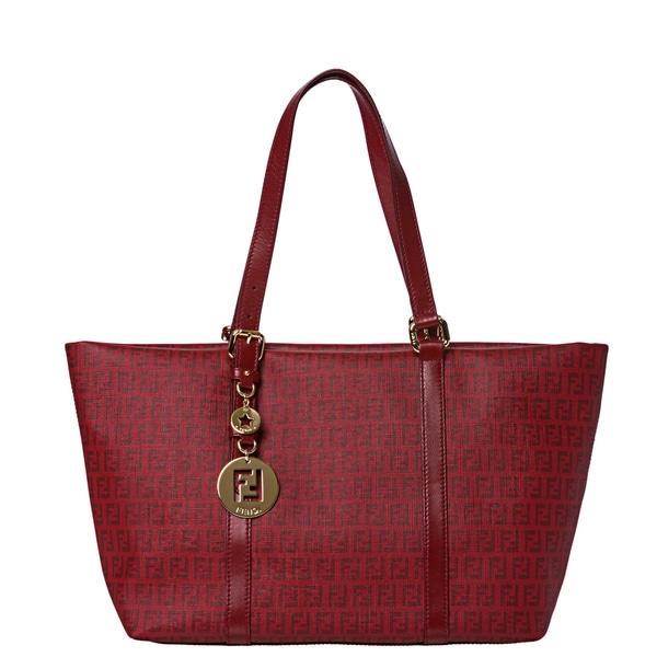 Fendi Women's Large Red Zucchino Print Tote Handbag