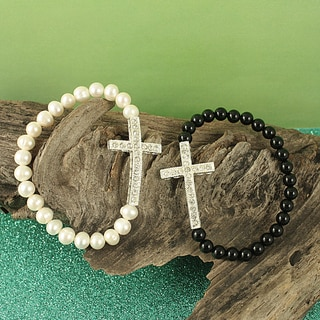 Handcrafted Sideways Cross and Semi-precious Stones Bracelet