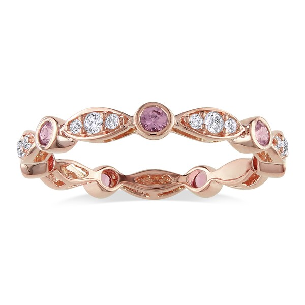 Miadora 18k Gold Pink Sapphire and 1/4ct TDW Diamond Ring (H-I, SI2)
