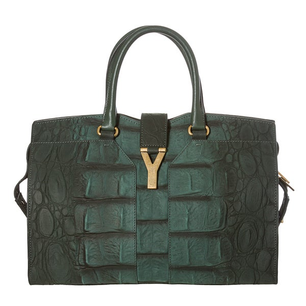 Yves Saint Laurent Women's 'Cabas ChYc ' Green Textured Leather Tote