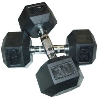 Valor Fitness RH-30 30lb Rubber Hex Dumbbell (Pair)