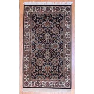 Indo Hand-knotted Mahal Black/ Beige Wool Rug (3' x 5')
