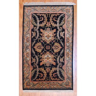 Indo Hand-knotted Mahal Black/ Salmon Wool Rug (3' x 5')