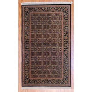Sino Hand-knotted Tabriz Black/ Green Wool Rug (3' x 5')