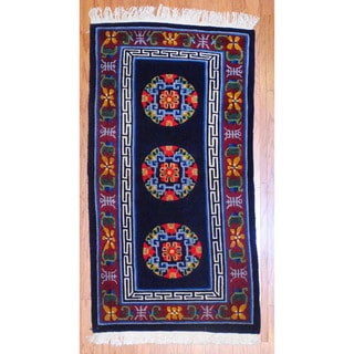 Sino Hand-knotted Art Deco Black/ Navy Wool Rug (3' x 5')