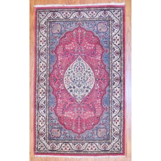 Pakistani Hand-knotted Tabriz Pink/ Ivory Wool Rug (3' x 5')