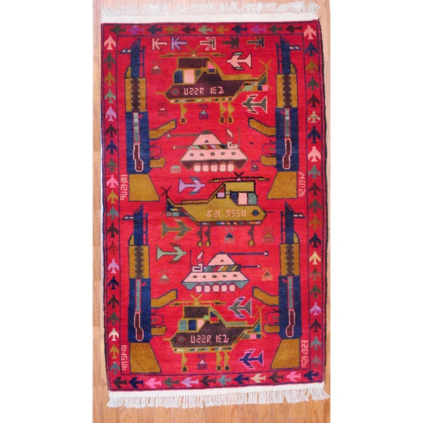 Afghan Hand-knotted Tribal Balouchi Red/ Gold Wool Rug (3'3 x 5'8)