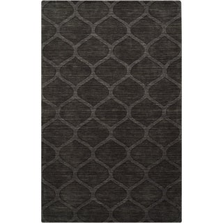 Hand-crafted Solid Dark Brown Lattice Brampton Wool Rug