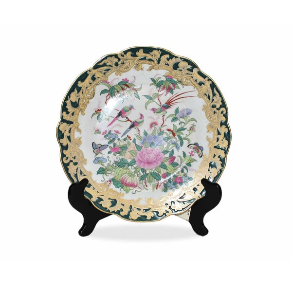 Green Medallion Scallop Plate with Stand