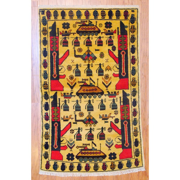 Afghan Hand-knotted Tribal Balouchi Gold/ Red Wool Rug (3' x 5')