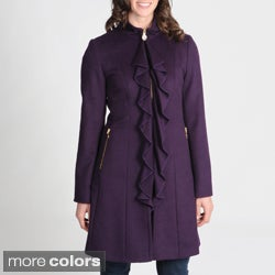 Tahari Women's Ruffle Front Wool-blend Coat