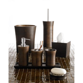 Ribbed Rubber Wood Bath Accessory Collection