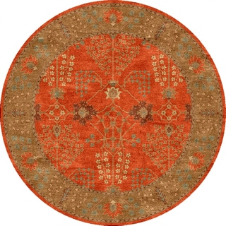 Tufted E20 Transitional Red/ Orange Wool Round Rug (8' x 8')