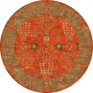 Tufted E20 Transitional Red/ Orange Wool Round Rug (6' x 6')