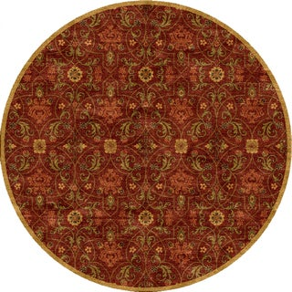 Tufted E15 Transitional Red/ Orange Wool Round Rug (6' x 6')