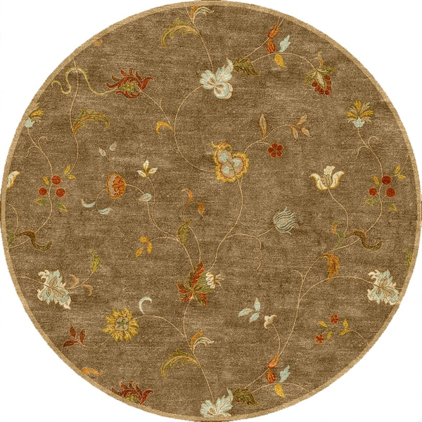 Tufted E14 Transitional Beige/ Brown Wool Round Rug (8' x 8')