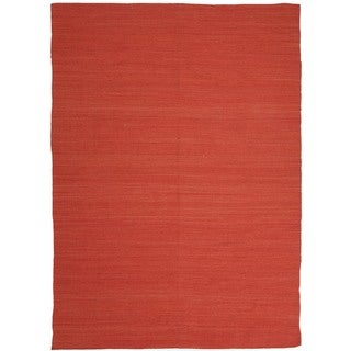 Flat Weave Solid Red/ Orange Wool Rug (5' x 8')