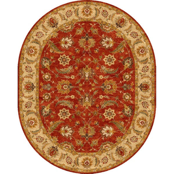 Tufted D95 Traditional Red/ Orange Wool Oval Rug (8' x 10')