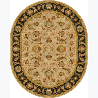Tufted D93 Traditional Beige/ Brown Wool Oval Rug (8' x 10')