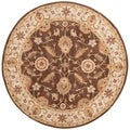 Tufted D93 Traditional Beige/ Brown Wool Round Rug (10' x 10')