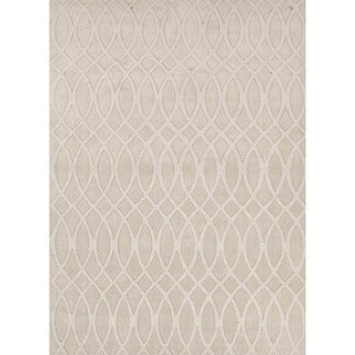 Solid Ivory/ White Wool Woven Rug (8' x 11')