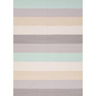 Flat Weave Stripe Grey Rug (9' x 12')