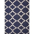 Flat Weave Geometric Patterned Blue Wool Runner (2'6 x 8')