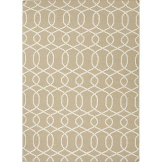 Flat Weave Beige/Brown Geometric Wool Runner (2'6 x 8')