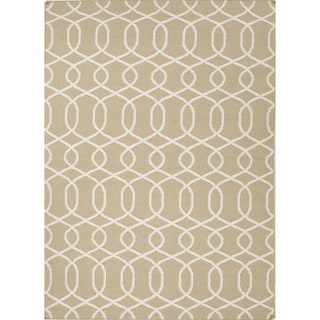 Flat Weave Geometric Beige/ Brown Wool Rug (9' x 12')