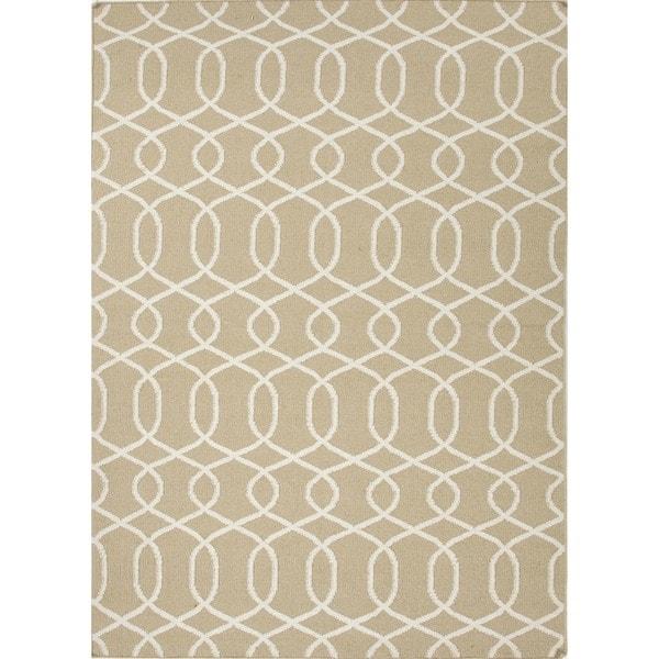Flat Weave Geometric Beige/ Brown Wool Rug (8' x 10')