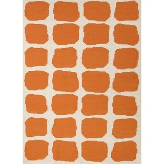 Flat Weave Abstract Red/ Orange Wool Rug (8' x 10')