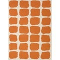 Flat Weave Abstract Red/ Orange Wool Rug (5' x 8')
