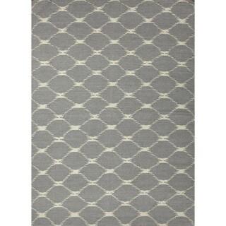 Flat Weave Geometric Blue Wool Rug (8' x 10')