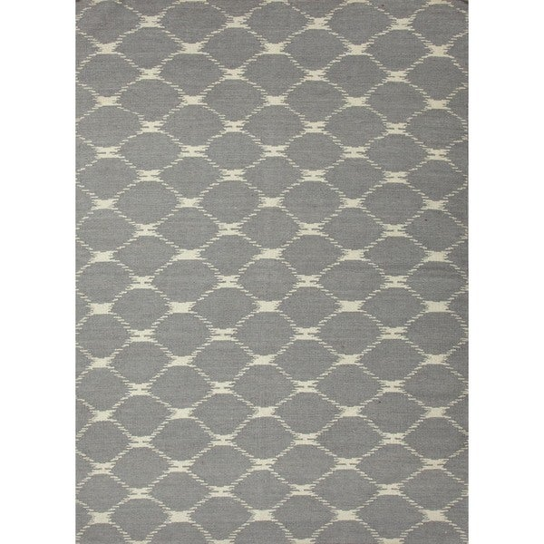 Flat Weave Geometric Blue Wool Rug (8' x 10')