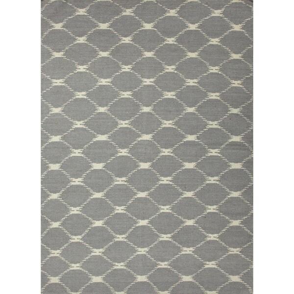 Contempoary Flat Weave Geometric Blue Wool Rug (3'6 x 5'6)