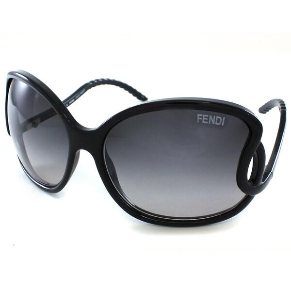 Fendi Women's FS5177 001 Black Round Plastic Sunglasses
