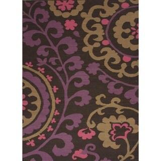 Flat Weave Floral Pink/ Purple Wool Rug (5' x 8')