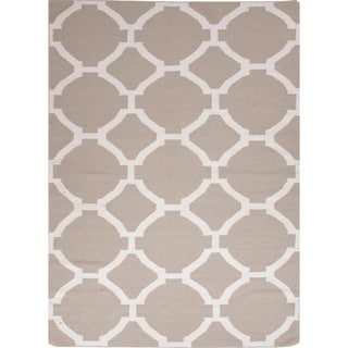Flat-Weave Geometric Beige/Brown Wool Geometric Rug (3'6