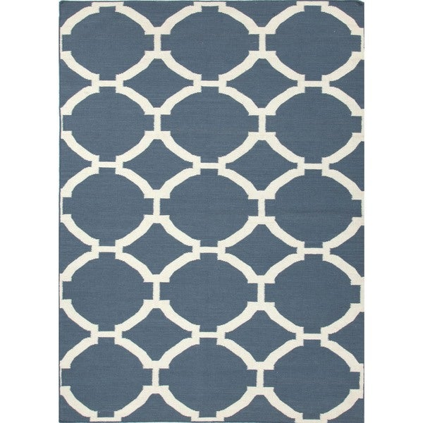 Flat Weave Geometric Blue 100-percent Wool Rug (9' x 12')