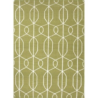 Flat Weave Geometric Green Wool Rug (9' x 12')
