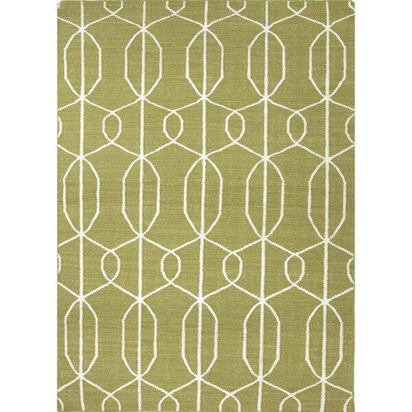 Flat Weave Geometric Green Wool Area Rug (8' x 10')