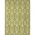 Flat Weave Geometric Green Wool Area Rug (8' x 10')