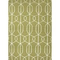 Flat-Weave Geometric Green Wool Area Rug (5' x 8')