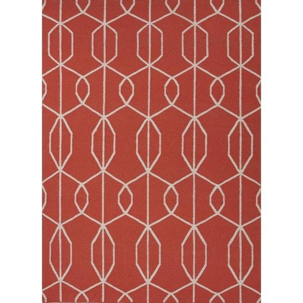 Flat Weave Red/ Orange Wool Handmade Runner (2'6 x 8')