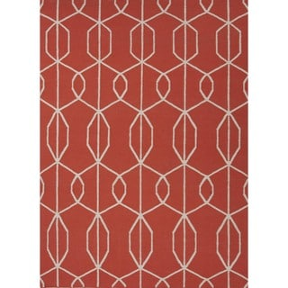 Patterned Flat Weave Geometric Red/ Orange Wool Rug (9' x 12')